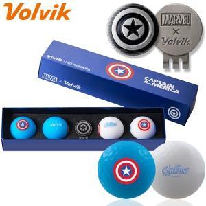 数量限定 マーベル×ボルビック ビビッド キャプテンアメリカ ゴルフボール 4球+マーカーセット Volvik ヴォルビック USAモデル|g-zone