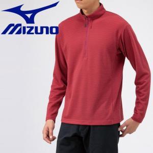 ミズノ アウトドア ブレスサーモ ミニボーダージップネックシャツ メンズ B2MA956962|g-zone