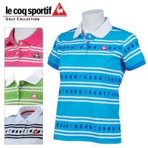 ルコックゴルフ クーリストボーダーラムネPTシャツ レディース 春夏 ゴルフウェア QGWPJA09