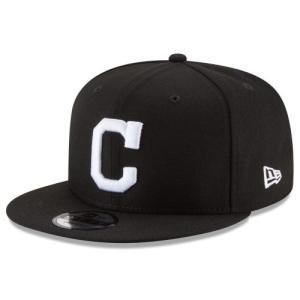 NEW ERA (ニューエラ) MLBフラットバイザー/スナップバックキャップ (9FIFTY 950 CAP) クリーブランド・インディアンズ ※ブラックバージョン|g2sports