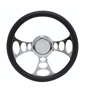 車 カー 用品 パーツ RPC Chrome & Black Leather Steering Wh...