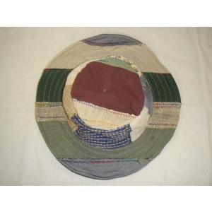 パッチワーク 切り替え  帽子 ネパール製  Original  ワイヤー入り麻ハット gacha-com