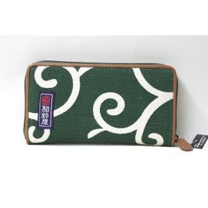 和粋屋 唐草 長財布 帆布製 和柄 ラウンドファスナー  緑|gacha-com