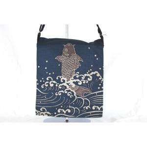 京都伝統の日本製 縁起物の染めバッグ バック 夫婦鯉|gacha-com
