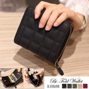 レディース 小さい財布 二つ折り コンパクト ミニ財布 ラウンドファスナー|gacha-com