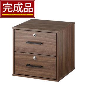 【完成品】 カラーボックス 鍵付き 棚 書棚 扉付き 引き出し 木製 ラック 2段 収納 シェルフ リビング キッチンの写真