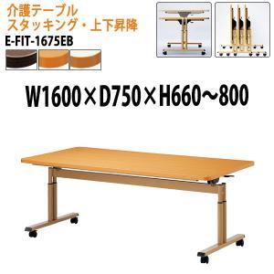 天板跳上式 上下昇降 介護テーブル キャスター付 動画で確認 E-FIT-1675EB 幅160x奥...