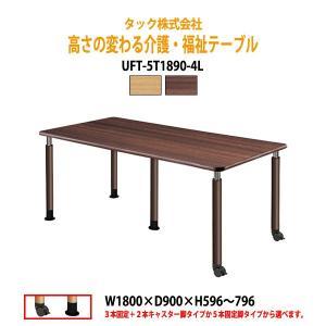 高さの変わる 介護用テーブル 食堂用テーブル 施設用テーブル 会議テーブル UFT-5T1890-4L W180×D90×H59.6〜79.6cm 送料無料(北海道・沖縄・離島は除く) gadget