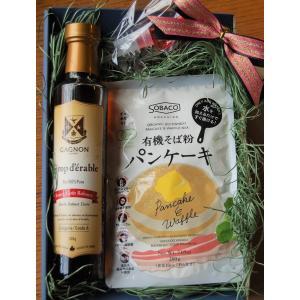 有機そば粉パンケーキ&メープルシロップダークセット  ※のし・箱・包装・レシピ本付き|gagnon-maple