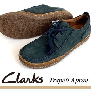 即納可☆ 【Clarks】クラークス 超特価 Trapell Apron NAVY NUBUC トラ...