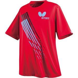 ◆◆○送料無料 メール便発送 <バタフライ> Butterfly 卓球Tシャツ スリック・Tシャツ レッド 45220-006 卓球 ウェア ユニセックス(45220-006-but1|gainabazar