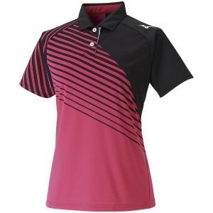 ◆◆送料無料 メール便発送  <ミズノ> MIZUNO ウィメンズゲームシャツ(ウィメンズ) 62JA0213 (96:ピンク×ブラック) テニス バドミントン|gainabazar