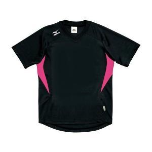 ◆◆送料無料 メール便発送 <ミズノ> MIZUNO ゲームシャツ(ドッジボール) A62HY144 (09:ブラック×ピンク)|gainabazar