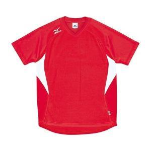 ◆◆送料無料 メール便発送 <ミズノ> MIZUNO ゲームシャツ(ドッジボール) A62HY144 (62:レッド×ホワイト)|gainabazar