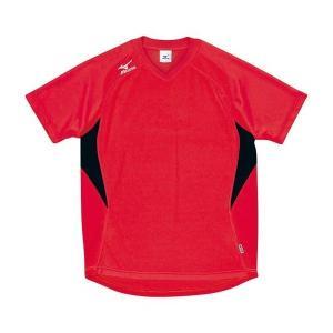 ◆◆送料無料 メール便発送 <ミズノ> MIZUNO ゲームシャツ(ドッジボール) A62HY144 (82:レッド×ブラック)|gainabazar