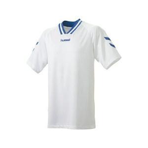 ◆◆送料無料 メール便発送 <ヒュンメル> HUMMEL HJG3001 ジュニア半袖ゲームシャツ(163:ホワイト×ロイヤルブルー) ヒュンメル ゲームシャツ(hjg|gainabazar
