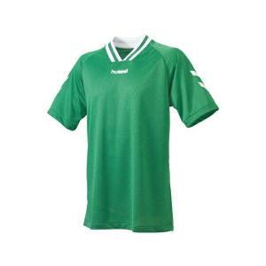 ◆◆送料無料 メール便発送 <ヒュンメル> HUMMEL HJG3001 ジュニア半袖ゲームシャツ(55:グリーン×ホワイト) ヒュンメル ゲームシャツ(hjg3001-55|gainabazar