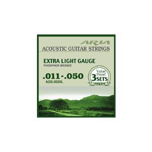 ARIA アコースティック弦 3セットパック/AGS-203XL