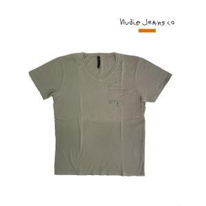 Nudie Jeans(ヌーディージーンズ) 35161-4019 V-NECK T-SHIRT ORGANIC GEOMETRIC KHAKI|gaku-shop