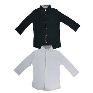 style addition 度詰め 天竺素材 チビワイド襟 7部袖カットソーシャツ 日本製|gaku-shop