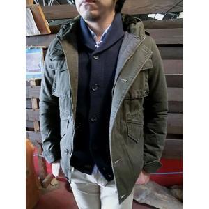 EDITOR'S(エディターズ) フード付きでカジュアルミリタリー 中綿ショートジャケット オリーブ|gaku-shop