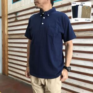 グッドオン GOOD ON グッドオン USA製 半袖ボタンダウンポロTシャツ ホワイト  ブラック ネイビー|gaku-shop