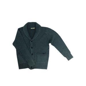 U.S.W Hub&Spoke( ハブアンドスポーク)バスケット編み ショールカーディガン ブルー|gaku-shop