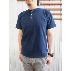 グッドオン GOOD ON(グッドオン) GOST11021 S/S HENLEY TEE ショートスリーブヘンリーネックTシャツ インディゴ|gaku-shop
