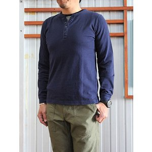 U.S.W Hub&Spoke ハブアンドスポーク フェイクヘンリーロングTシャツ Navy Black|gaku-shop
