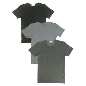 U.S.W USW  リップルストレッチ素材 クルーネック Tシャツ ブラック ホワイト グレー|gaku-shop