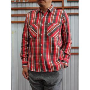 F.O.B(エフオービー) F3411 KEAVY NEL WORK SHIRTS チェック柄 コットンネルシャツ 日本製 Red(25カラー)|gaku-shop