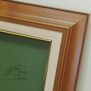 7720/チーク F8 木製油彩額縁 表面保護/ガラス|gakubutiya