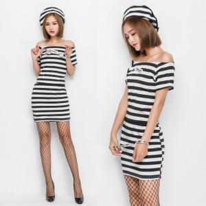 666eed5cba157 ハロウィン 囚人 囚人服 手錠付き 女性用 セクシーミニスカート イベント パーティー コスプレ衣装 ps3210