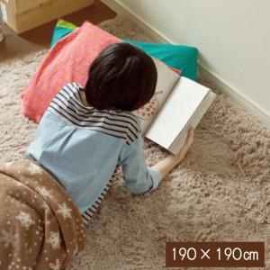 シャギーラグ 洗える ラグ ラグマット 190×190cm 無地ラグ カーペット ラグ マット  洗える  絨毯 じゅうたん シャギー|galette-des-rois