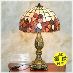 LED 綺麗な卓上 LED ステンドグラス風 天然貝殻細工スタンド 照明器具LED ライト 家電  ...