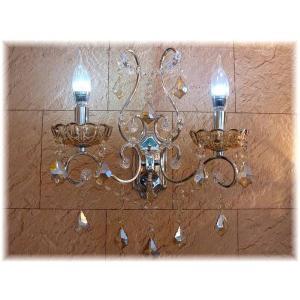 照明 照明器具 ブラケット LED 壁掛け照明  新品 ブラウンクリスタルキャンドル型壁掛け灯  おしゃれ 豪華 アンティーク ライト インテリア|galle0105