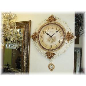 時計 壁掛け時計 振子時計 置時計 インテリア 新品 アンティーク調薔薇モチーフ壁掛け振り子時計 おしゃれ 激安 アンティーク 時計