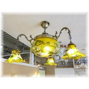 照明 照明器具 シャンデリア LED シーリング 新品 アールヌーボー様式ガレ風ガラス工芸アンティークシャンデリア おしゃれ 豪華 インテリア galle0105