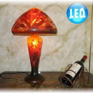 【送料無料!】ガレ風ガラス工芸 アンティーク調 卓上ランプ 照明 照明器具 卓上ランプ LED 豪華...