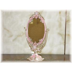 【送料無料!】新品 アンティーク調 卓上鏡 鏡 鏡台 鏡月 壁掛け 卓上 全身 ドレッサー かがみ ミラー 姿見 豪華 アンティーク おしゃれ 安い スタンドミラー|galle0105