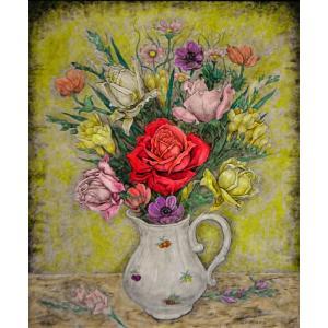 作者■服部 和三郎 タイトル■薔薇と花々   技法■油彩画  サイン■自筆サイン有り。   状態...