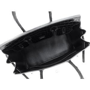 エルメス バーキン30 cm ハンドバッグ ブラック×シルバー金具 クロコダイル ニロティカス シャイン Q刻印 HERMES Birkin バッグ 黒|gallery-rare|02