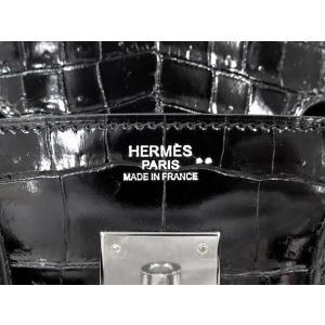エルメス バーキン30 cm ハンドバッグ ブラック×シルバー金具 クロコダイル ニロティカス シャイン Q刻印 HERMES Birkin バッグ 黒|gallery-rare|03