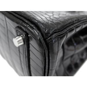 エルメス バーキン30 cm ハンドバッグ ブラック×シルバー金具 クロコダイル ニロティカス シャイン Q刻印 HERMES Birkin バッグ 黒|gallery-rare|05