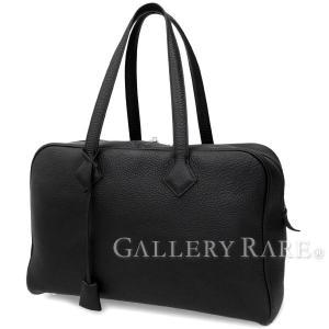 エルメス ハンドバッグ ヴィクトリア35 ブラック×シルバー金具 トリヨンクレマンス R刻印 HERMES バッグ 黒|gallery-rare