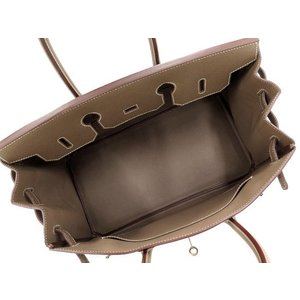 エルメス バーキン35 cm ハンドバッグ エトゥープ×シルバー金具 ヴォーエプソン Q刻印 HERMES Birkin バッグ|gallery-rare|02