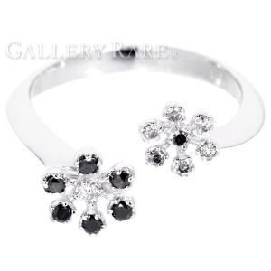 ポンテヴェキオ リング フラワー ブラックダイヤモンド 0.12ct ダイヤモンド 0.07ct K18WGホワイトゴールド リングサイズ約10.5号 Ponte Vecchio gallery-rare
