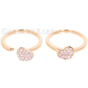 ポンテヴェキオ リング 2連 ハートリング ダイヤモンド 計0.4ct K18PGピンクゴールド リングサイズ約10.5号 約11号 Ponte Vecchio ジュエリー 指輪 ダイアモンド gallery-rare