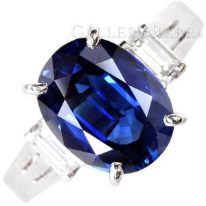 ブルーサファイア リング ダイヤモンド 0.35ct ブルーサファイア 3.49ct プラチナ850 Pt850 リングサイズ約 11.5号 ジュエリー 指輪 サファイヤ ダイアモンド|gallery-rare