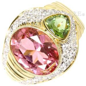 ピンクトルマリン リング ピンクトルマリン 4.11ct グリーントルマリン 0.75ct ダイヤモンド 0.66ct K18YG サイズ約13.5号 ジュエリー 指輪|gallery-rare